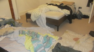 the sleeping conditions. Mine was the pile of duvets to the left