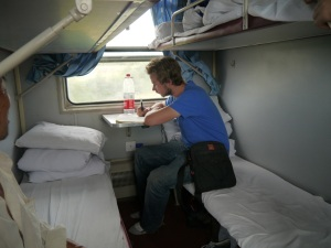 drawing up ideas for worldinlondon on the Silk Road train